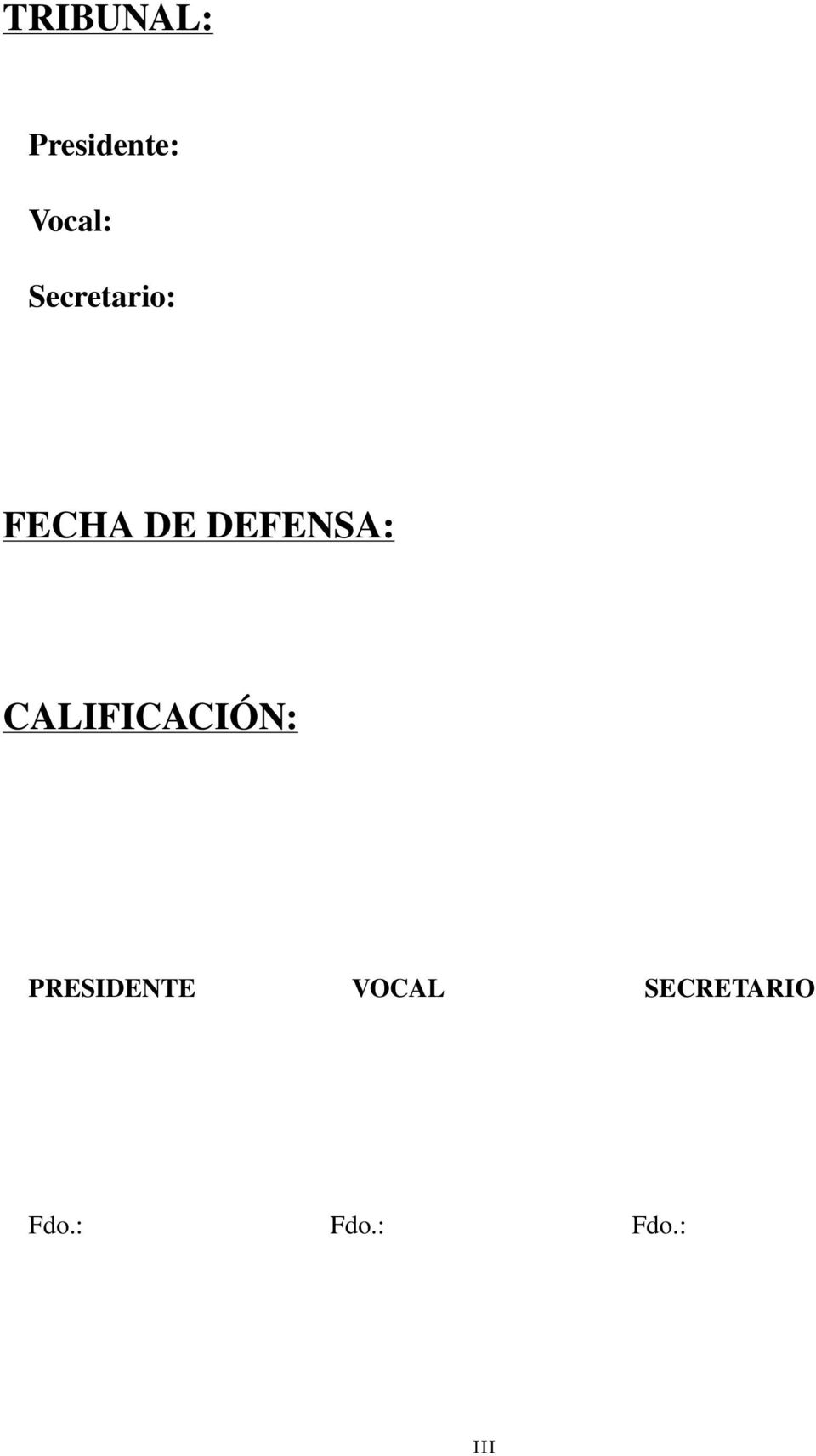 CALIFICACIÓN: PRESIDENTE VOCAL