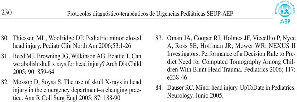 The use of skull X-rays in head injury in the emergency department a changing practice. Ann R Coll Surg Engl 2005; 87: 188-90 83.