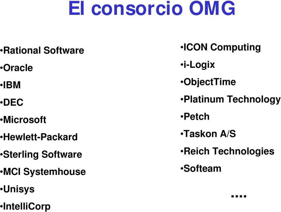 Systemhouse Unisys IntelliCorp ICON Computing i-logix