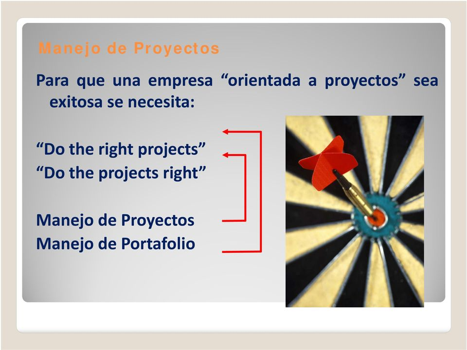 necesita: Do the right projects Do the
