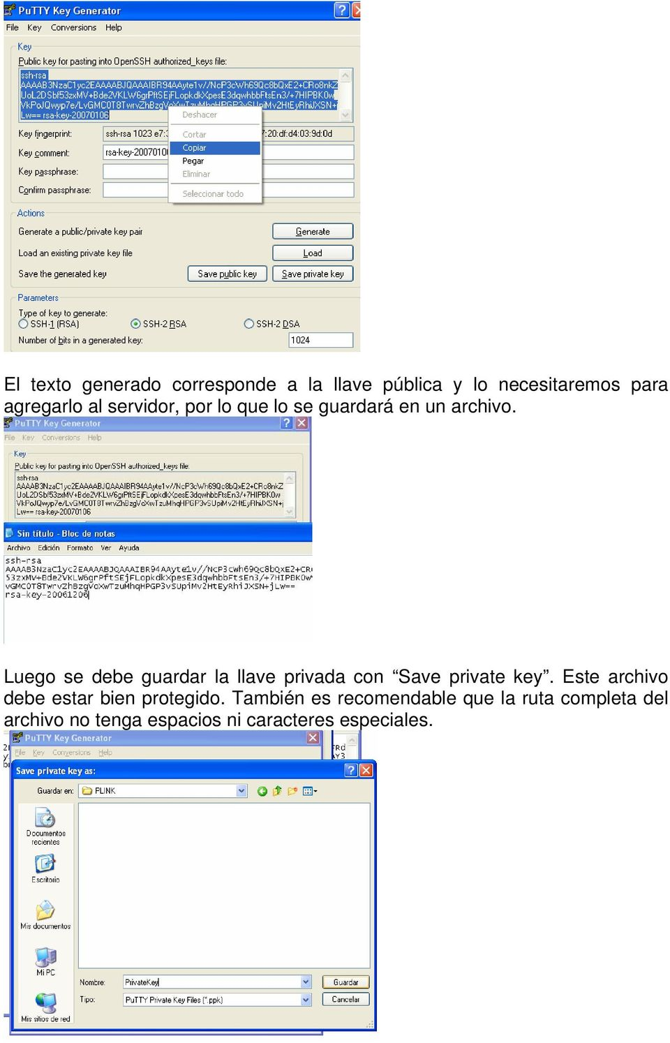 Luego se debe guardar la llave privada con Save private key.