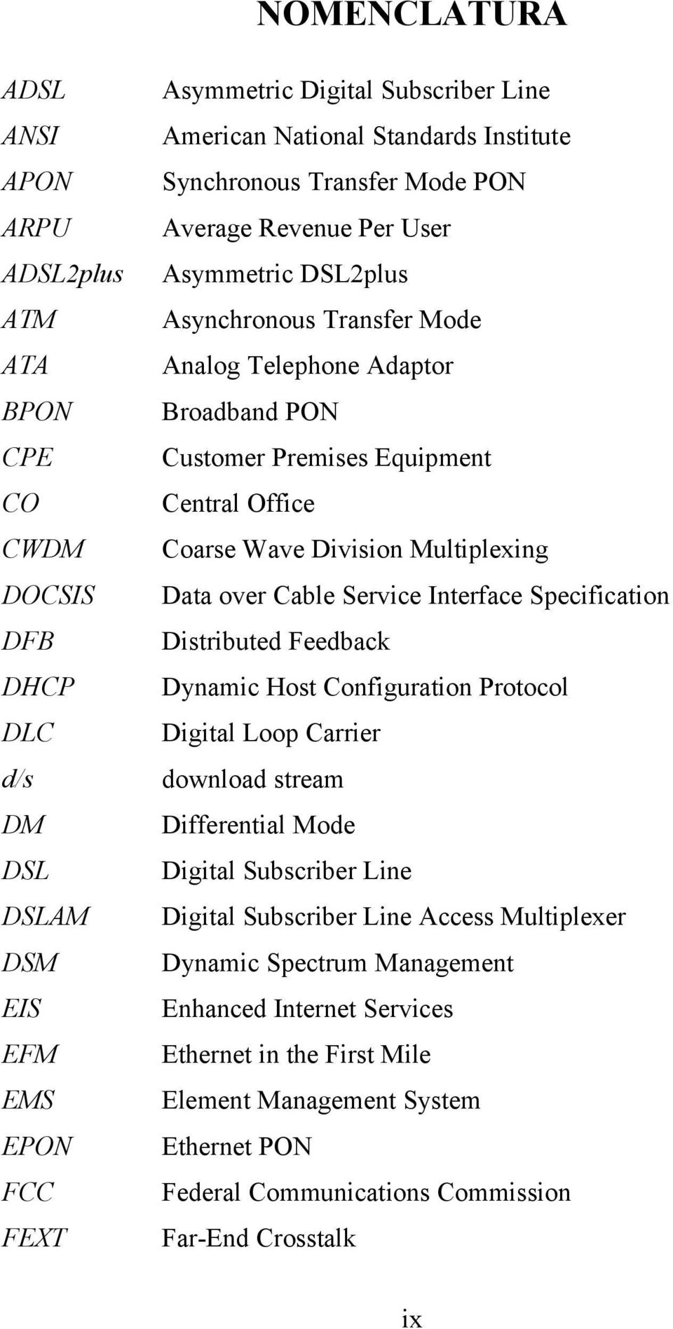 Interface Specification DFB Distributed Feedback DHCP Dynamic Host Configuration Protocol DLC Digital Loop Carrier d/s download stream DM Differential Mode DSL Digital Subscriber Line DSLAM Digital