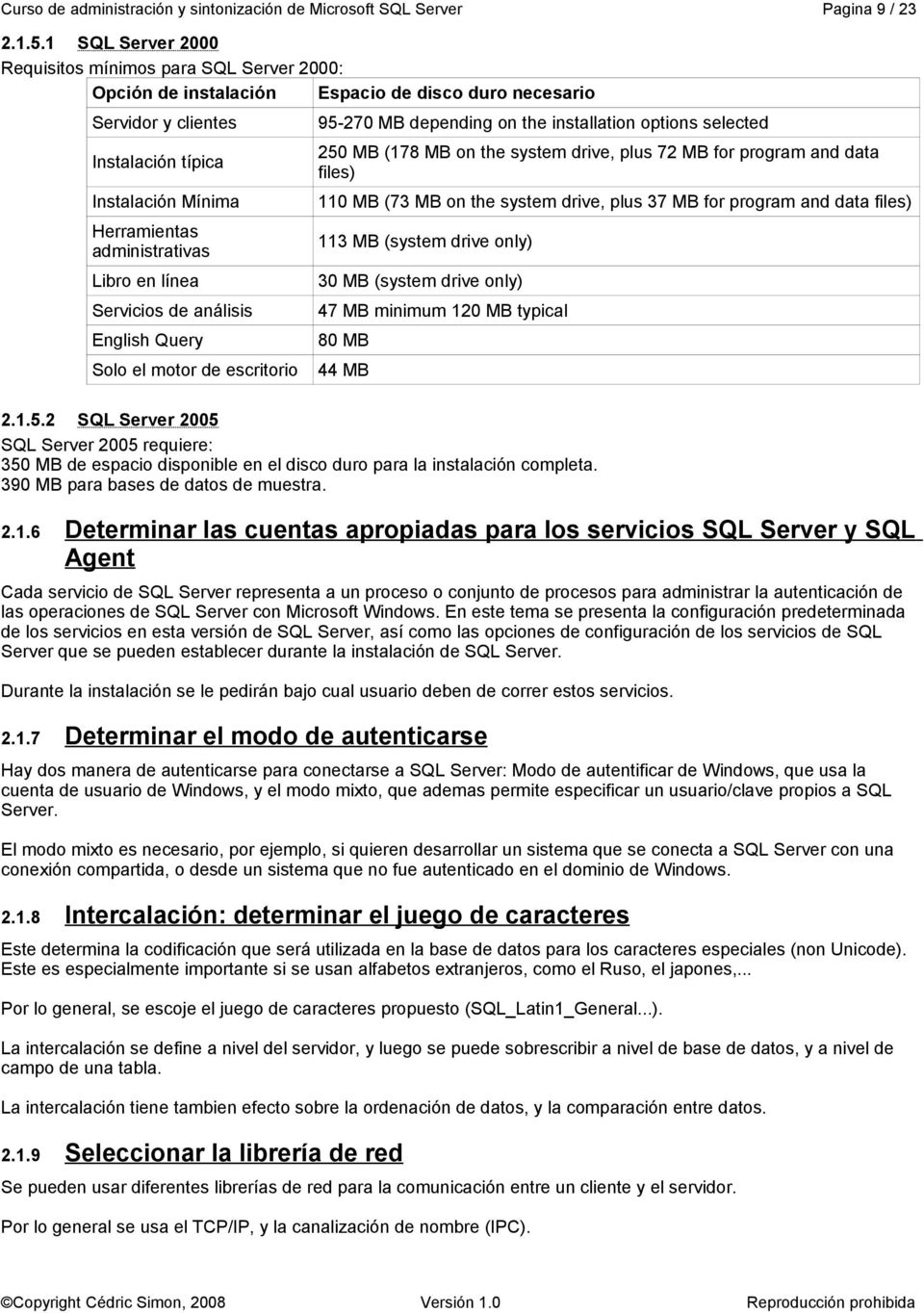 Libro en línea Servicios de análisis English Query Solo el motor de escritorio 95-270 MB depending on the installation options selected 250 MB (178 MB on the system drive, plus 72 MB for program and