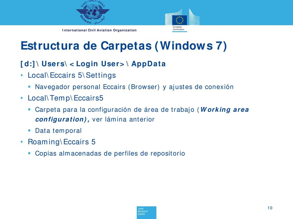 Local\Temp\Eccairs5 Carpeta para la configuración de área de trabajo (Working area