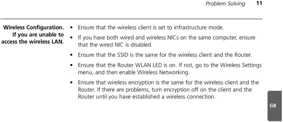 Ensure that the SSID is the same for the wireless client and the Router. Ensure that the Router WLAN LED is on.