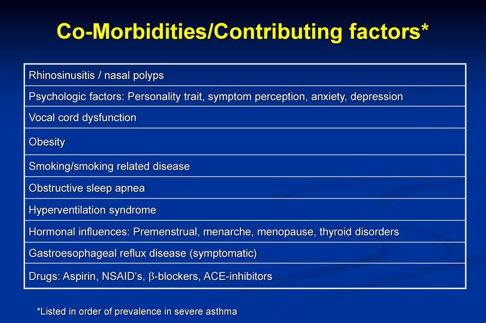 Hyperventilation syndrome Hormonal influences: Premenstrual, menarche, menopause, thyroid disorders Gastroesophageal
