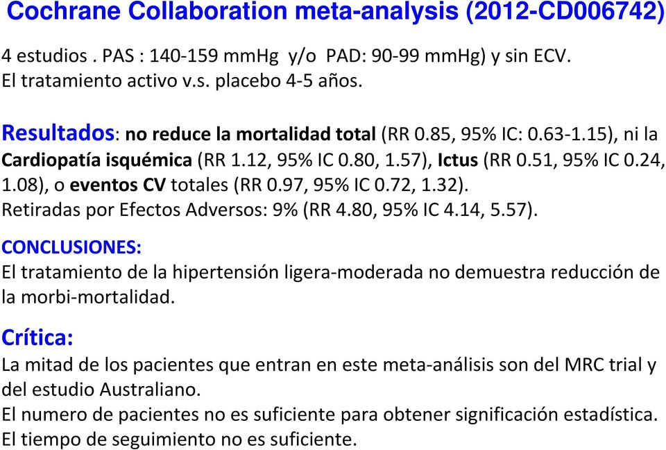 97, 95% IC 0.72, 1.32). Retiradas por Efectos Adversos: 9% (RR 4.80, 95% IC 4.14, 5.57).