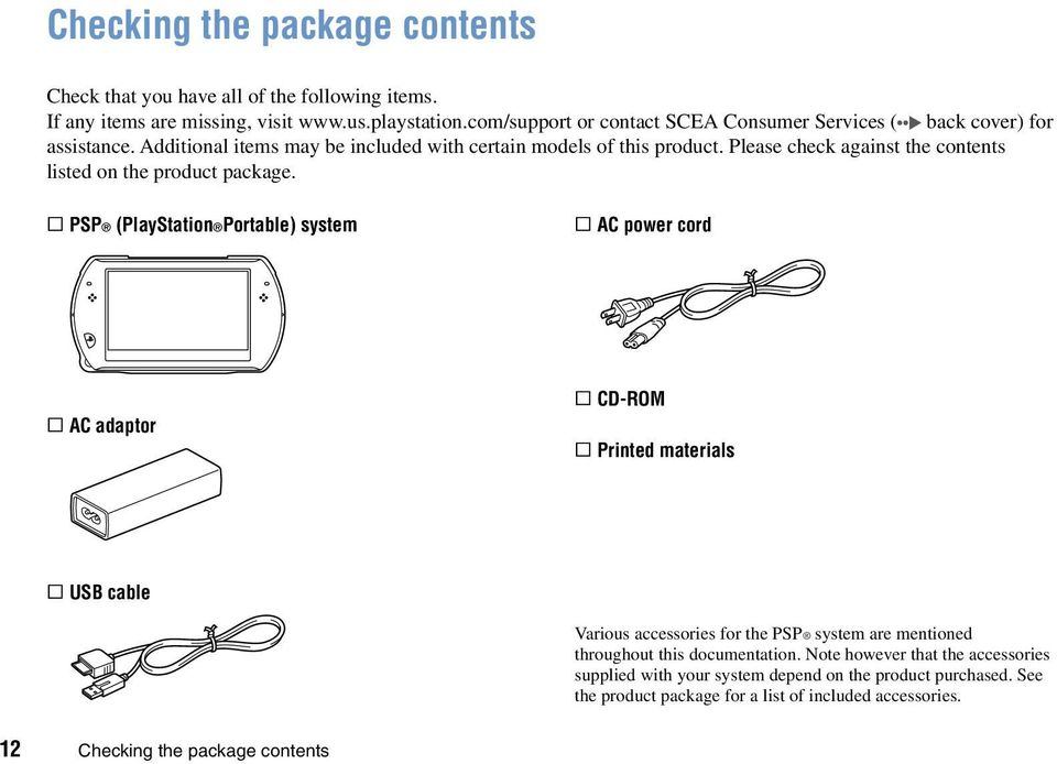 Please check against the contents listed on the product package.
