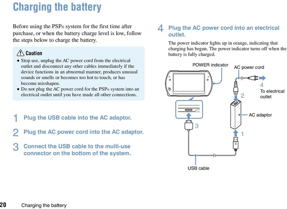 becomes too hot to touch, or has become misshapen. Do not plug the AC power cord for the PSP system into an electrical outlet until you have made all other connections.