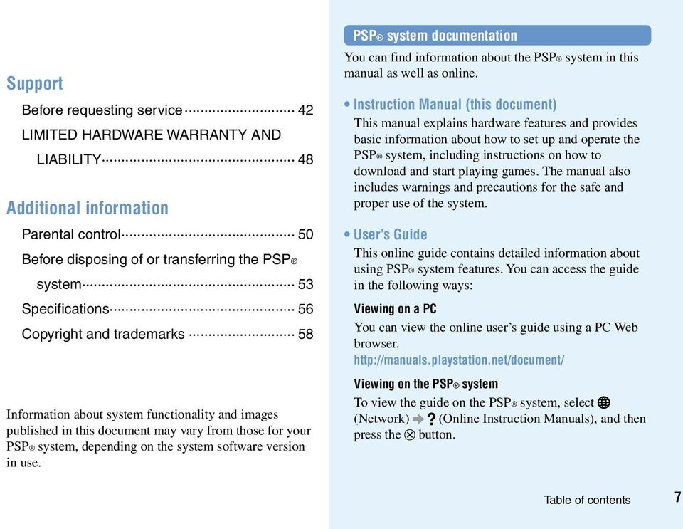 PSP system documentation You can find information about the PSP system in this manual as well as online.