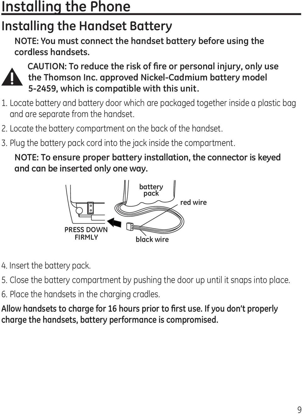 Locate battery and battery door which are packaged together inside a plastic bag and are separate from the handset. 2. Locate the battery compartment on the back of the handset. 3.