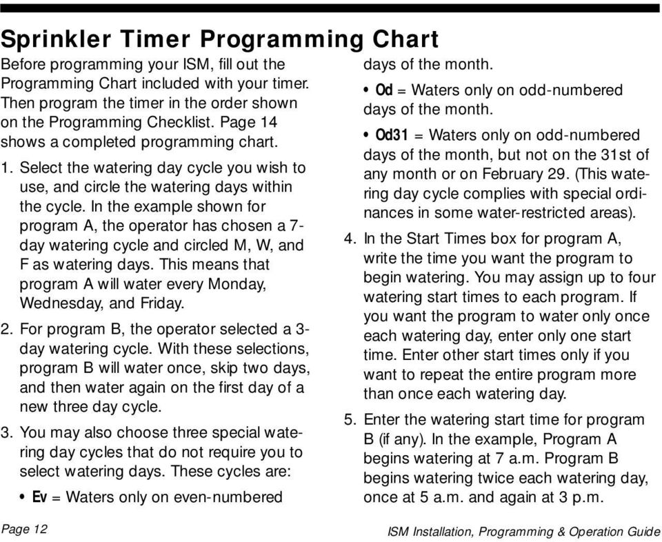In the example shown for program A, the operator has chosen a 7- day watering cycle and circled M, W, and F as watering days. This means that program A will water every Monday, Wednesday, and Friday.