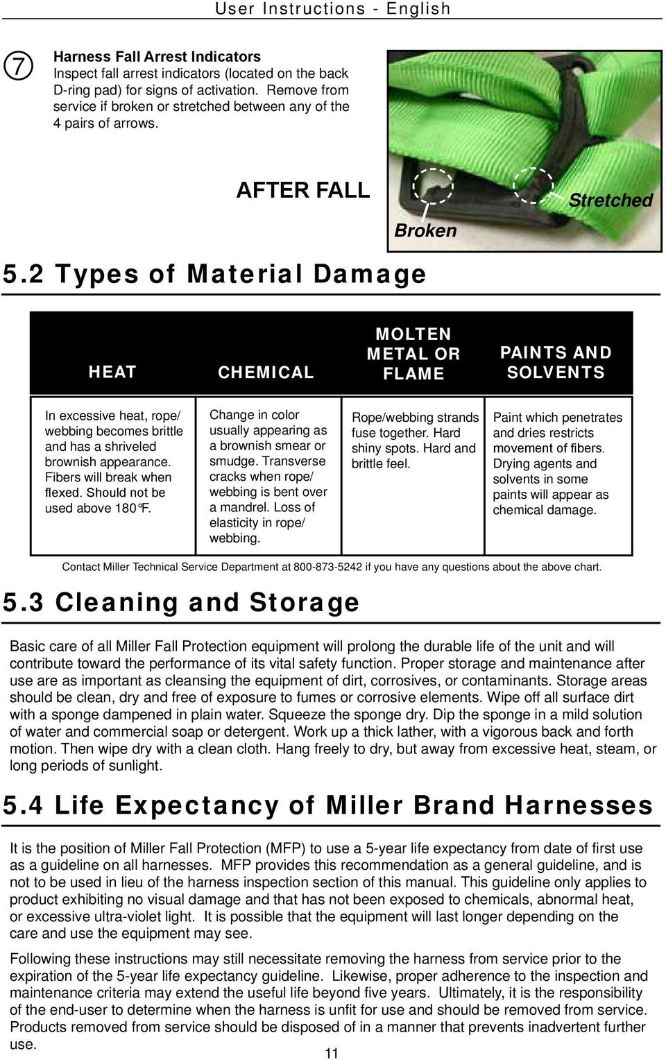 2 Types of Material Damage HEAT CHEMICAL MOLTEN METAL OR FLAME PAINTS AND SOLVENTS In excessive heat, rope/ webbing becomes brittle and has a shriveled brownish appearance.