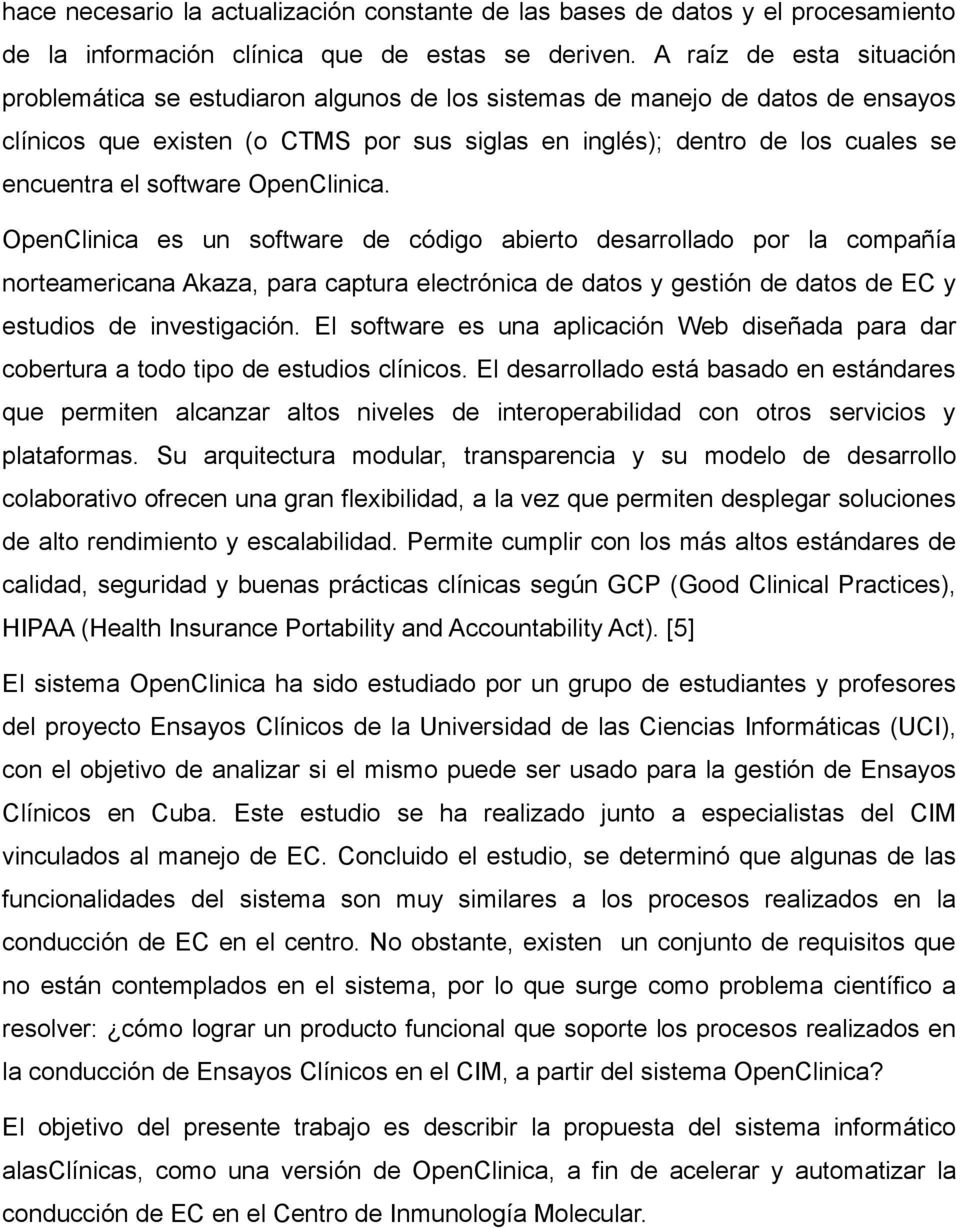 software OpenClinica.