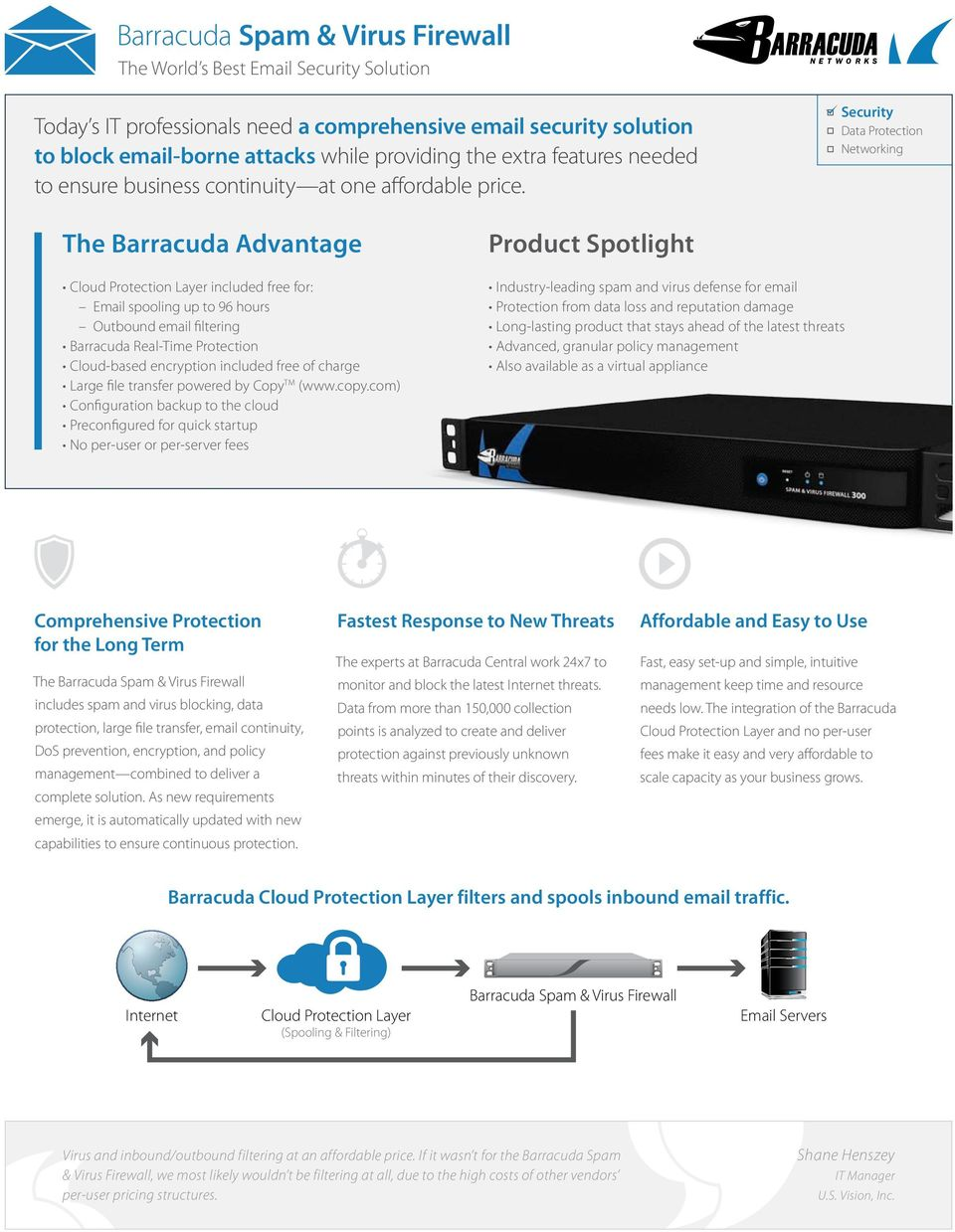 Security Data Protection Networking The Barracuda Advantage Cloud Protection Layer included free for: Email spooling up to 96 hours Outbound email filtering Barracuda Real-Time Protection Cloud-based