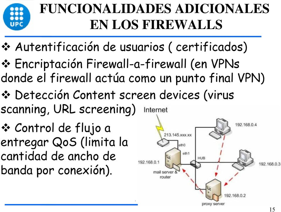 como un punto final VPN) Detección Content screen devices (virus scanning, URL