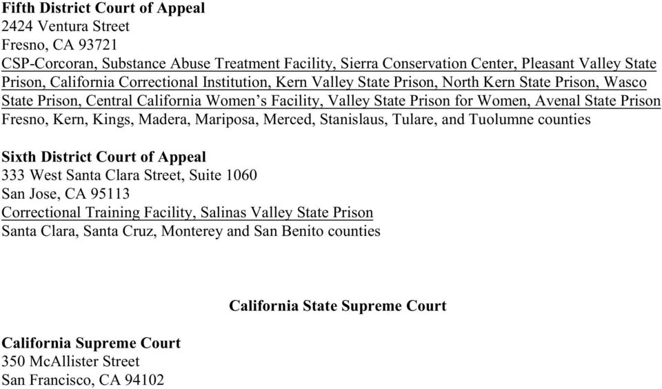 Kern, Kings, Madera, Mariposa, Merced, Stanislaus, Tulare, and Tuolumne counties Sixth District Court of Appeal 333 West Santa Clara Street, Suite 1060 San Jose, CA 95113 Correctional Training