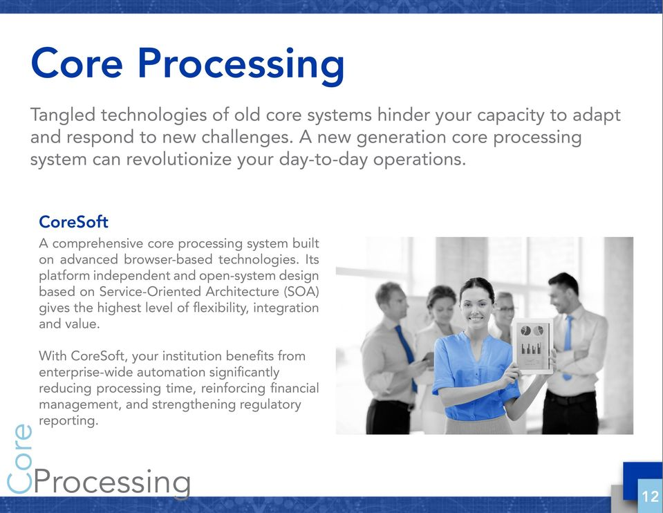 CoreSoft A comprehensive core processing system built on advanced browser-based technologies.