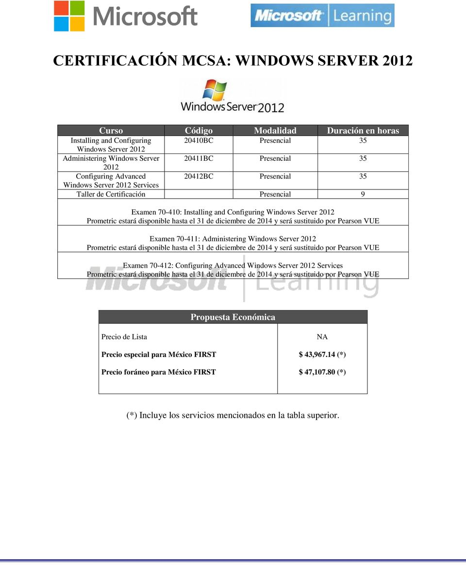 Services Taller de Certificación Presencial 9 Examen 70-410: Installing and Configuring Windows Server 2012 Examen