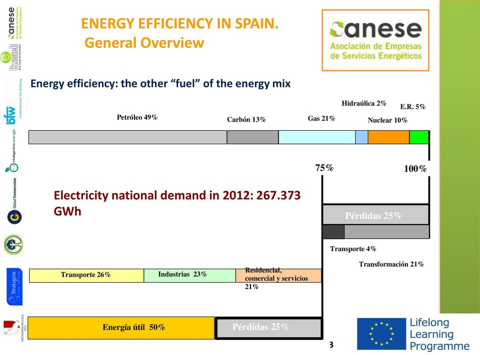 NER LOGO Energy efficiency: the other fuel of the energy mix Hidraúlica 2% E.R. 5% Petróleo 49% Carbón 13% Gas 21% Nuclear 10% 75% 100% Electricity national demand in 2012: 267.
