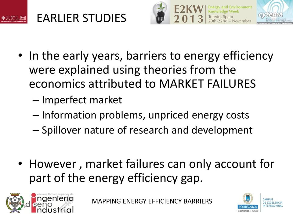 problems, unpriced energy costs Spillover nature of research and development However,