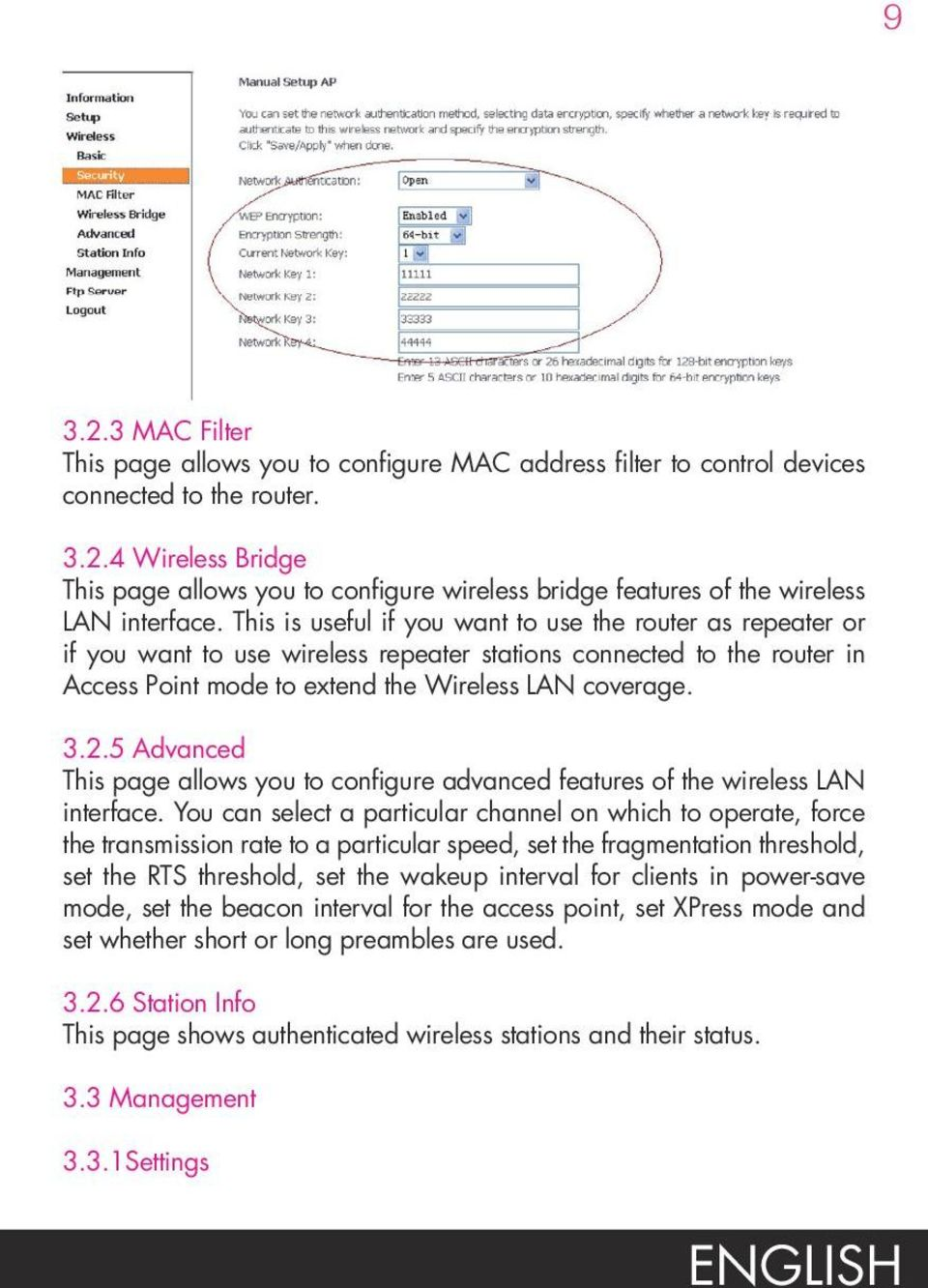 5 Advanced This page allows you to configure advanced features of the wireless LAN interface.
