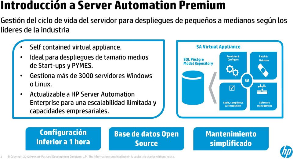 Actualizable a HP Server Automation Enterprise para una escalabilidad ilimitada y capacidades empresariales.