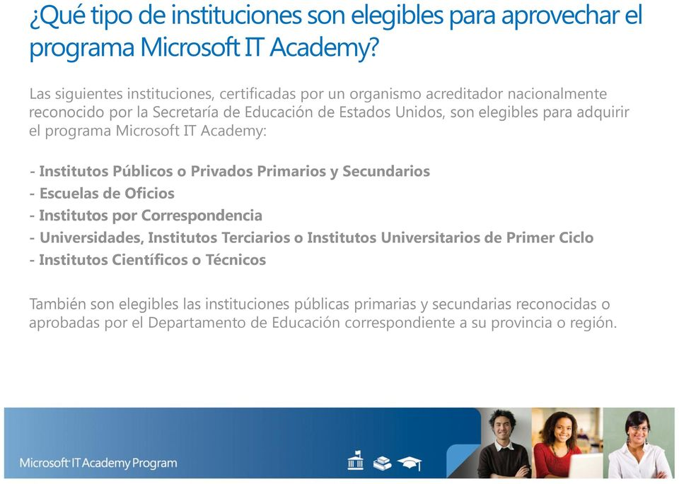 el programa Microsoft IT Academy: - Institutos Públicos o Privados Primarios y Secundarios - Escuelas de Oficios - Institutos por Correspondencia - Universidades, Institutos