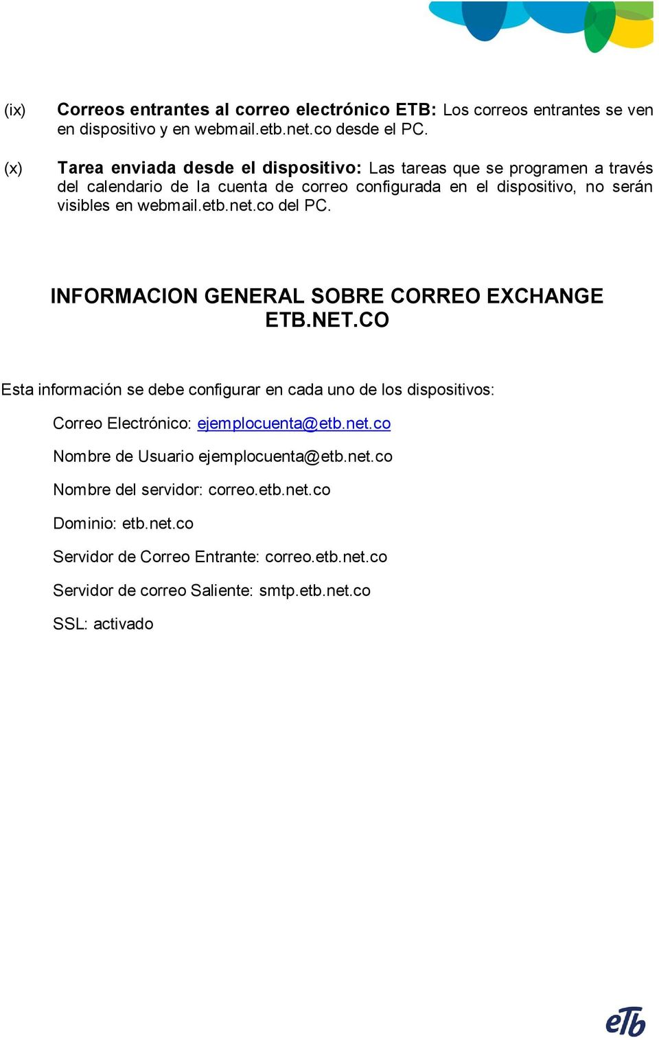 etb.net.c del PC. INFORMACION GENERAL SOBRE CORREO EXCHANGE ETB.NET.