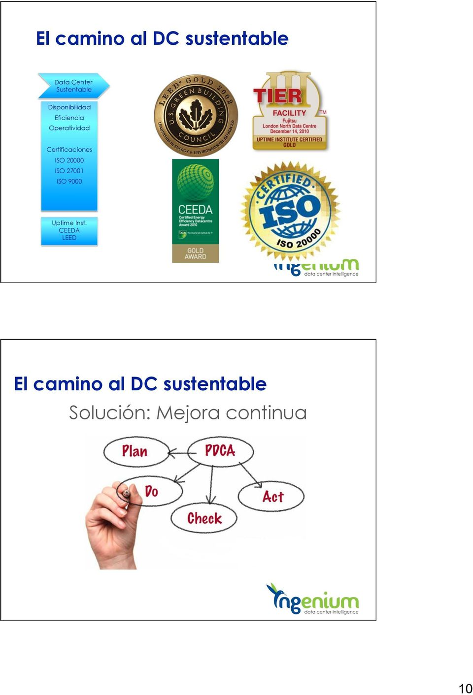 Certificaciones ISO 20000 ISO 27001 ISO 9000 Uptime