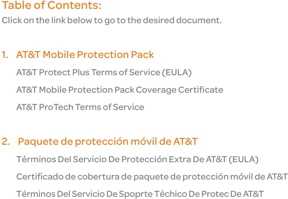 Certificate AT&T ProTech Terms of Service 2.