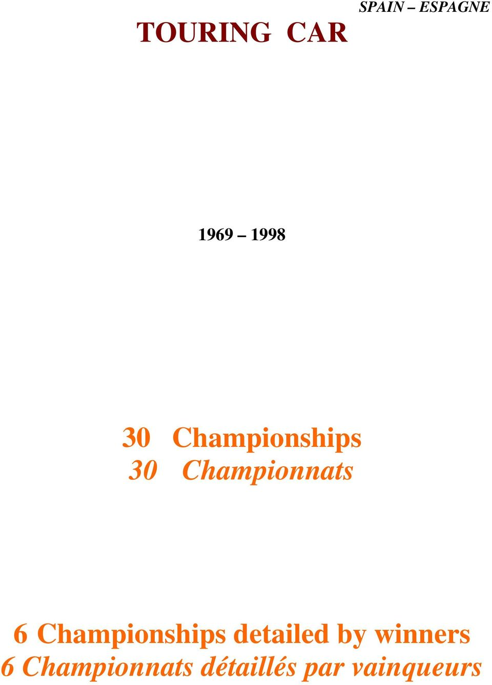 Championships detailed by winners 6