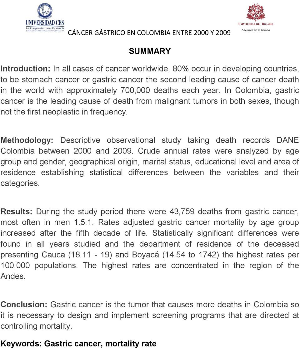 Methodology: Descriptive observational study taking death records DANE Colombia between 2000 and 2009.