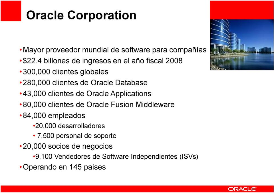 43,000 clientes de Oracle Applications 80,000 clientes de Oracle Fusion Middleware 84,000 empleados 20,000