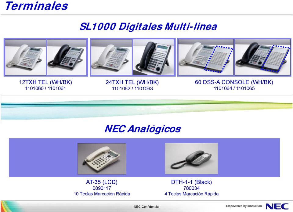 (WH/BK) 1101064 / 1101065 NEC Analógicos AT-35 (LCD) 0890117 10
