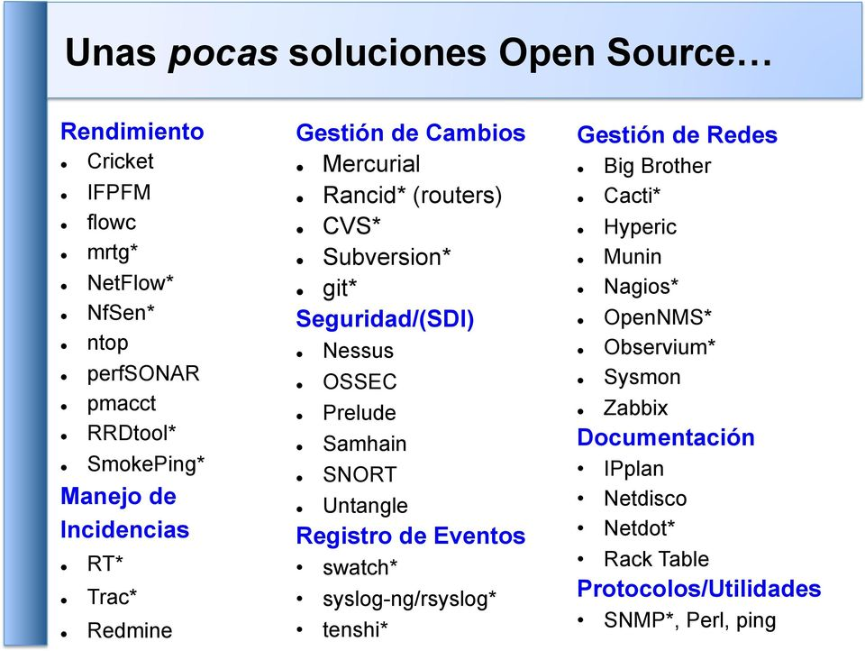 OSSEC Prelude Samhain SNORT Untangle Registro de Eventos swatch* syslog-ng/rsyslog* tenshi* Gestión de Redes Big Brother Cacti*