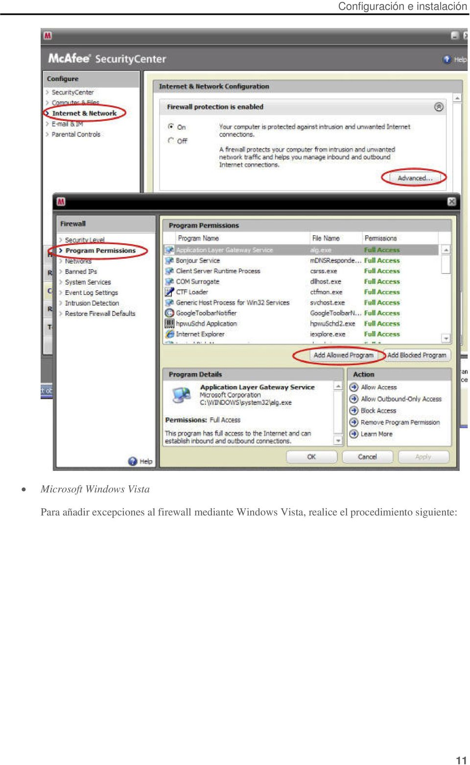 al firewall mediante Windows Vista,