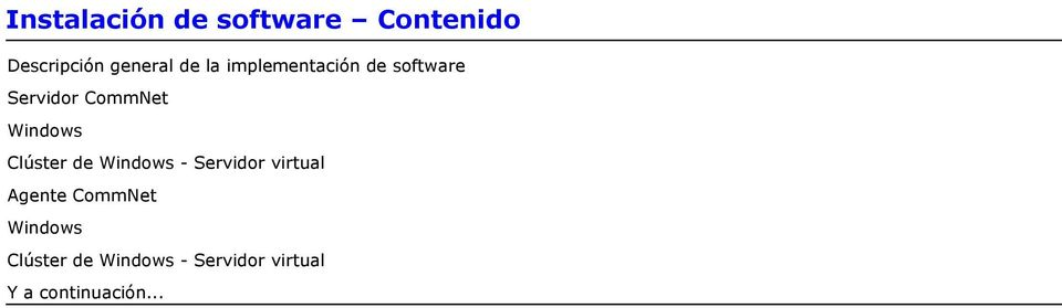 Clúster de Windows - Servidor virtual Agente CommNet