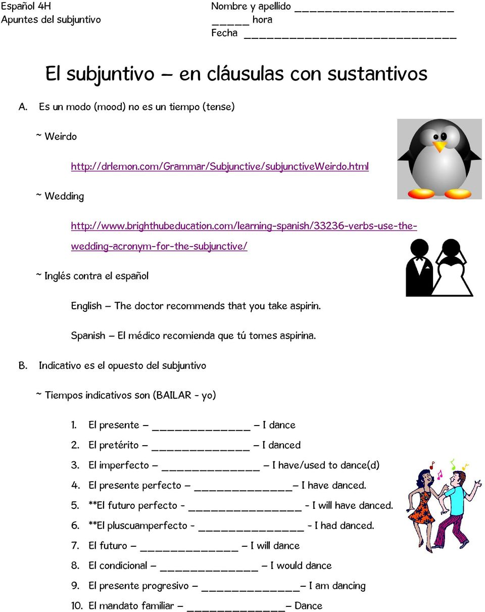 com/learning-spanish/33236-verbs-use-thewedding-acronym-for-the-subjunctive/ ~ Inglés contra el español English The doctor recommends that you take aspirin.