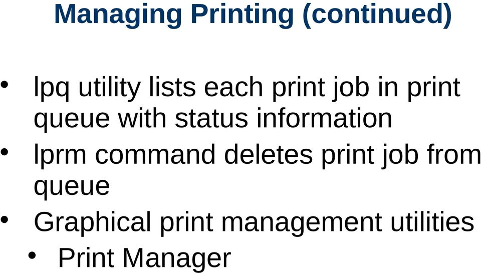 information lprm command deletes print job from