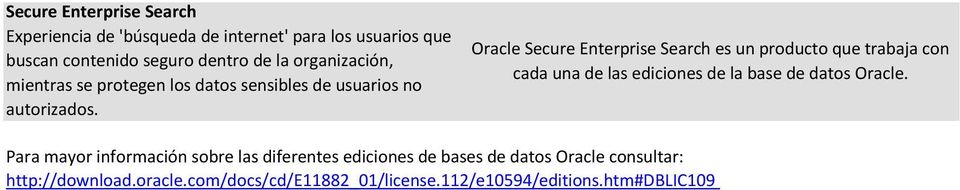 Oracle Secure Enterprise Search es un producto que trabaja con cada una de las ediciones de la base de datos Oracle.