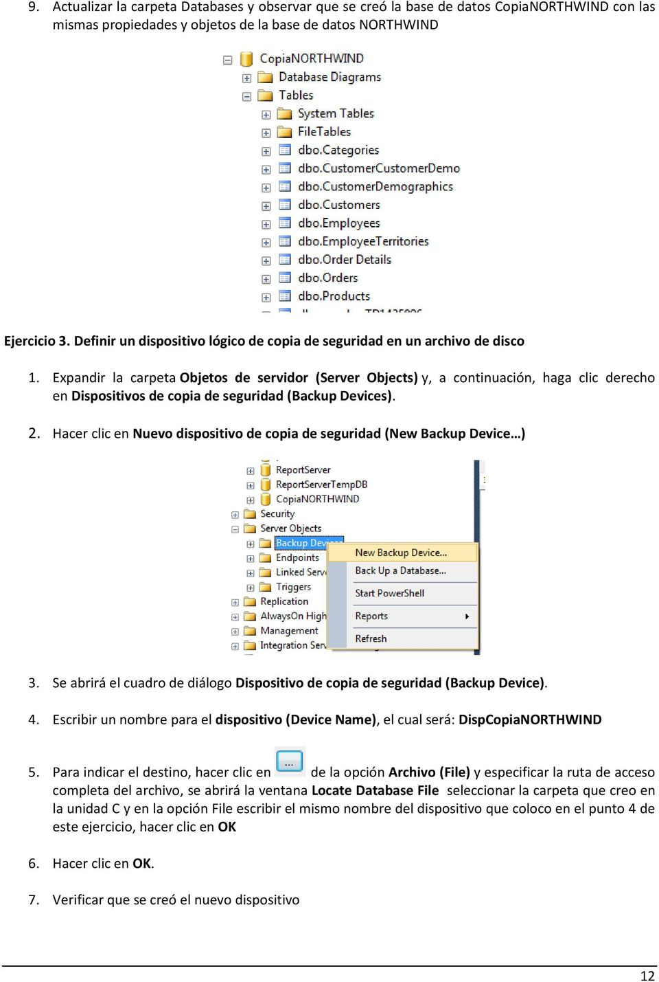 Expandir la carpeta Objetos de servidor (Server Objects) y, a continuación, haga clic derecho en Dispositivos de copia de seguridad (Backup Devices). 2.