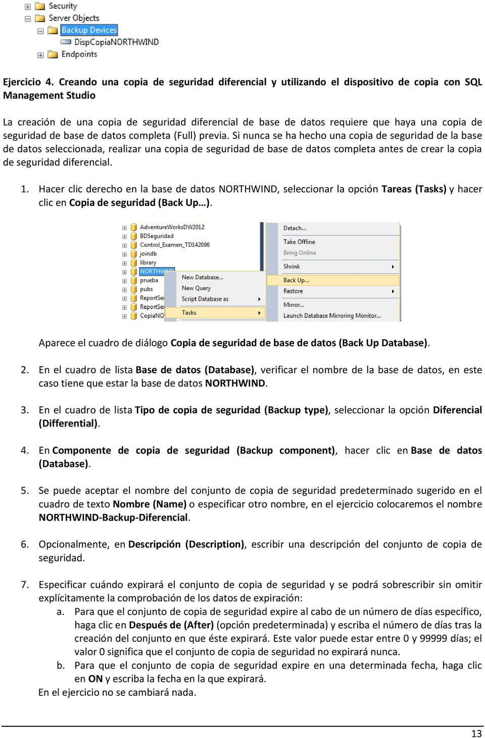 copia de seguridad de base de datos completa (Full) previa.