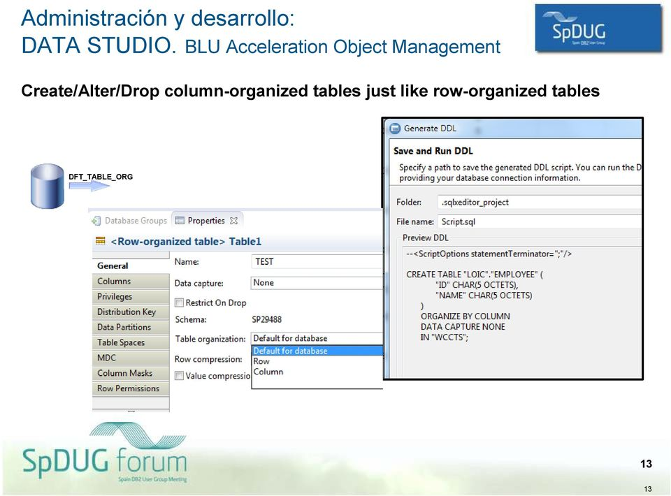 Create/Alter/Drop column-organized tables