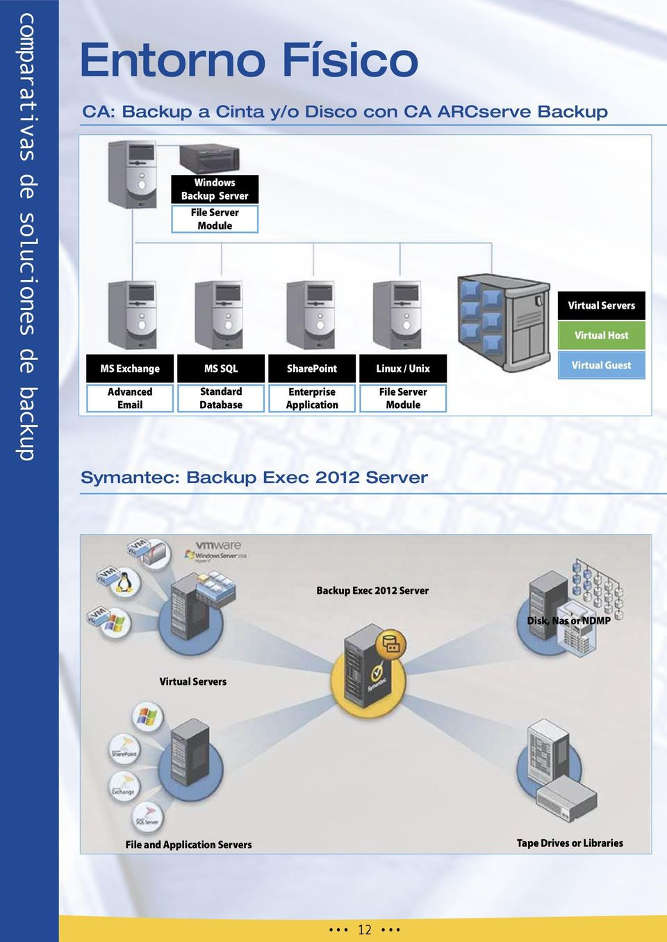 Application Linux / Unix File Server Module Symantec: Backup Exec 2012 Server Virtual Servers Virtual Host