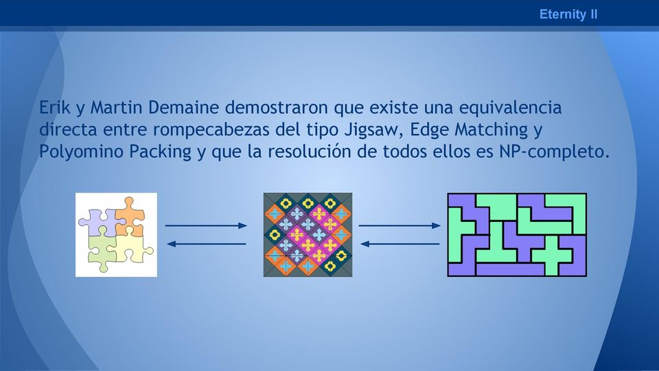 del tipo Jigsaw, Edge Matching y Polyomino Packing