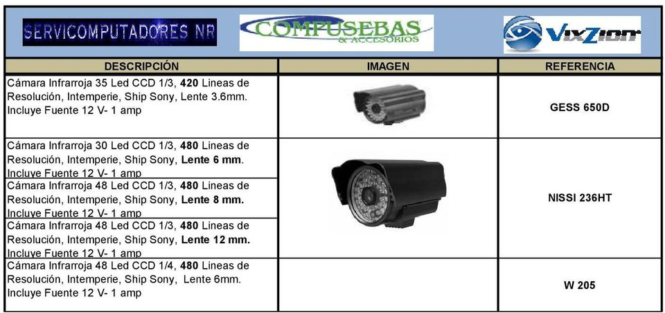 Cámara Infrarroja 48 Led CCD 1/3, 480 Lineas de Resolución, Intemperie, Ship Sony, Lente 8 mm.