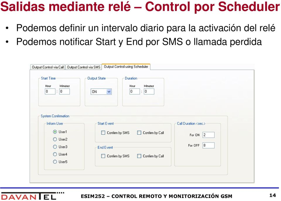 relé Podemos notificar Start y End por SMS o llamada