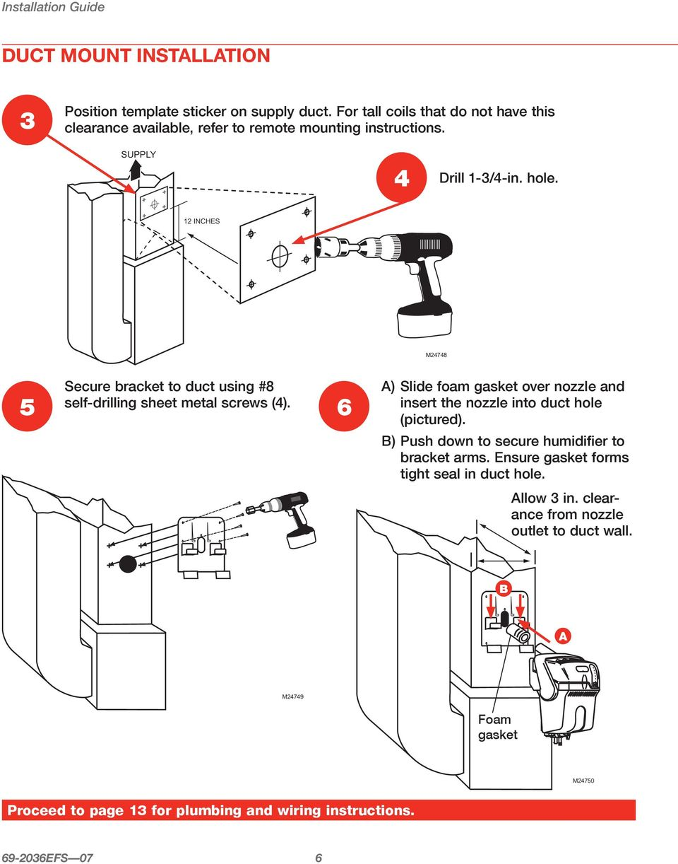 Truesteam 1 Mount 2 Hang 3 Plumb 4 Wire As Easy Professional Master Flow H1 Humidistat Wiring Diagram 12 Inches M24748 Secure Bracket To Duct Using 8 Self Drilling Sheet Metal Screws