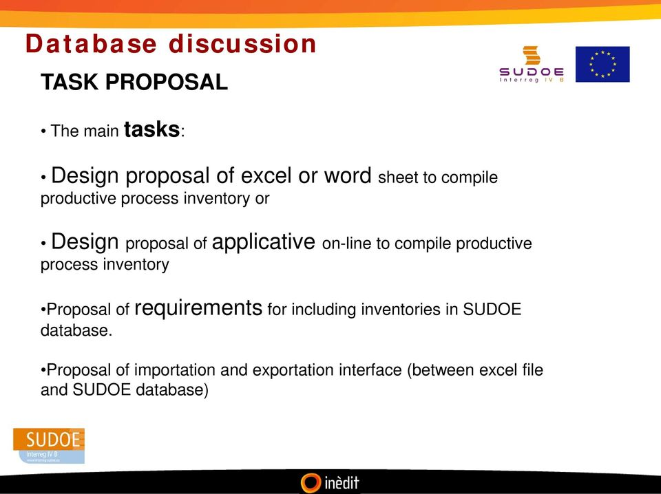 productive process inventory Proposal of requirements for including inventories in SUDOE